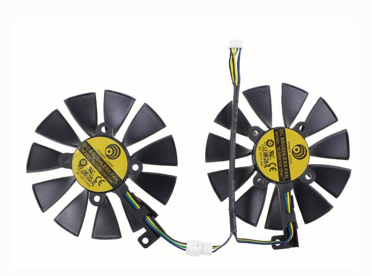 Set of 2pcs New ASUS DUAL GeForce GTX1060-O6G Power Logic PLD09210S12HH Graphics Card GPU Cooling Fan
