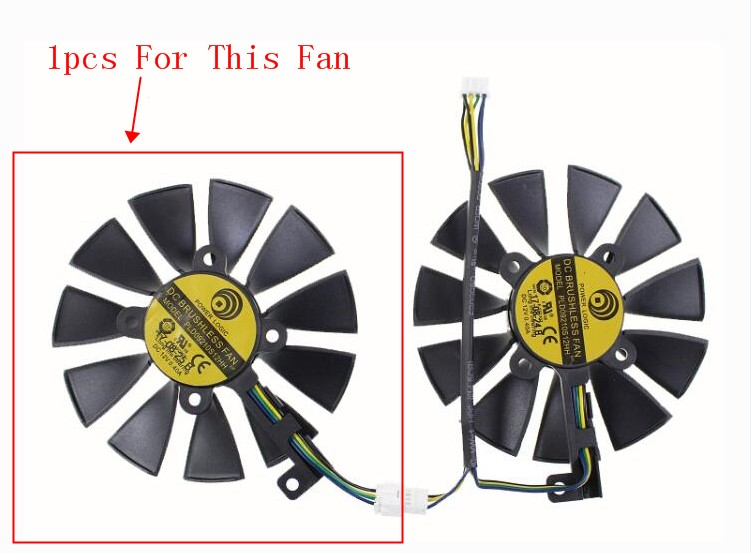 1pcs New ASUS DUAL GeForce GTX1060-O6G Power Logic PLD09210S12HH Graphics Card GPU Video Display Cooling Fan