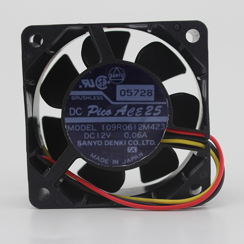 Sanyo 109R0612M423 6025 60MM 6CM 60*60*25mm DC12V 0.06A 3Pin 3Wire Cooling Fan