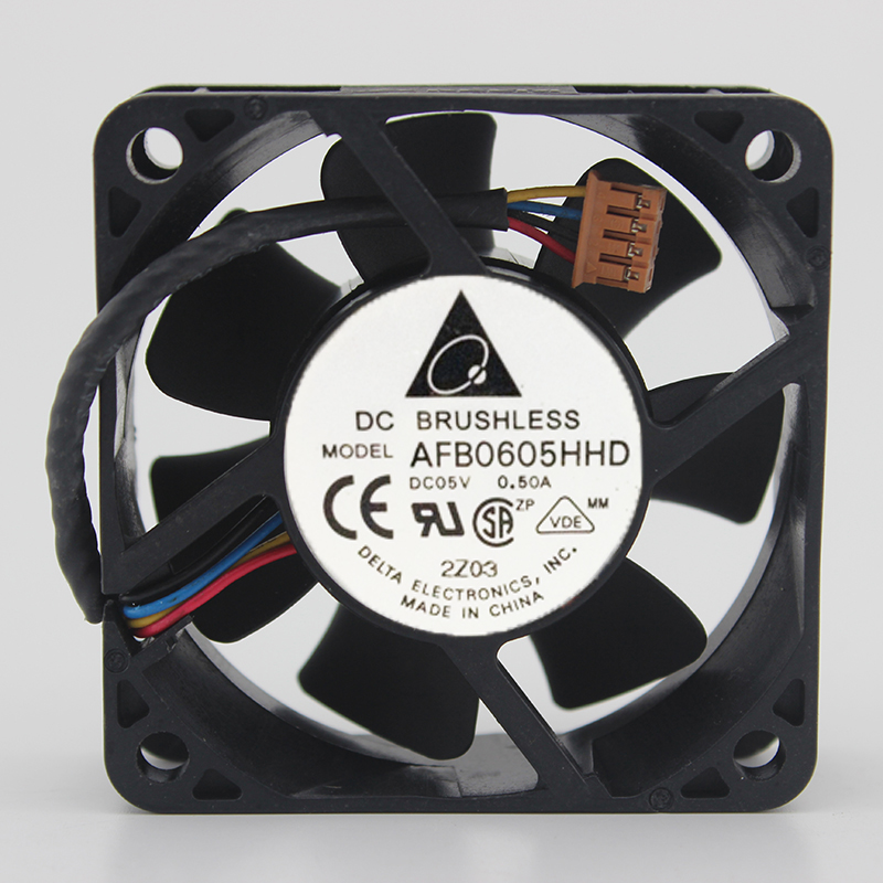Delta AFB0605HHD 6020 6CM 60mm 60*60*20MM DC5V 0.50A 4Wire 4Pin Cooling Fan