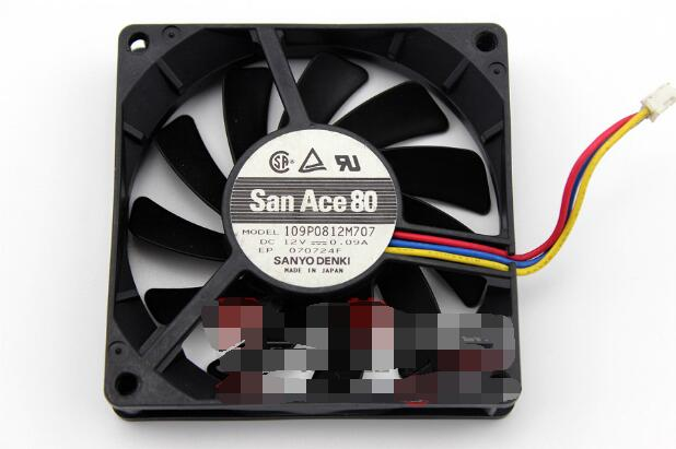 SANYOU San ACE 80 109P0812M7D09 DC12V 0.09A 8015 8CM 80mm 80*80*15MM 3Wire 3Pin Cooling Fan