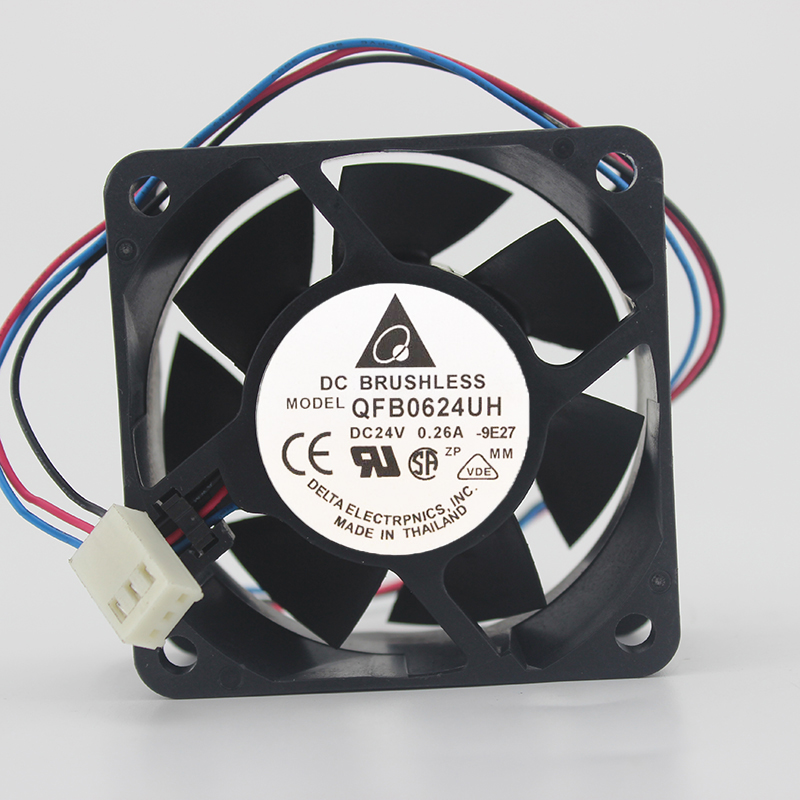 Delta QFR0624UH DC24V 0.26A 6025 6CM 60MM 60*60*25MM 3Pin 3Wire Cooling Fan