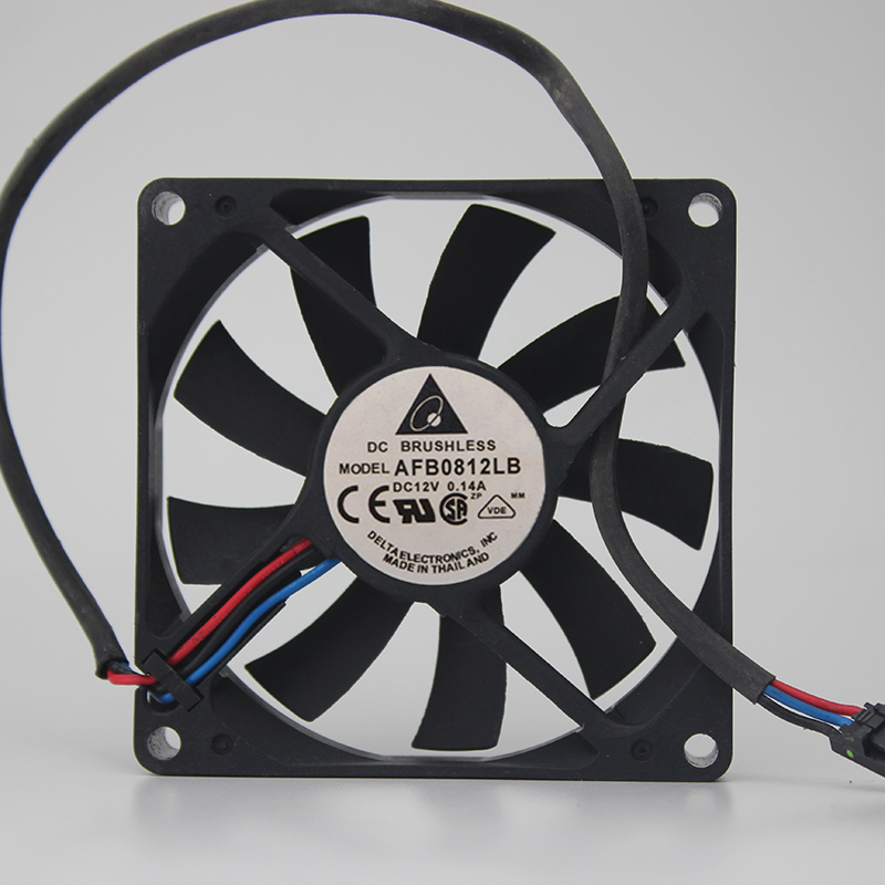 Delta AFB0812LB DC12V 0.14A 8015 8CM 80mm 80*80*15mm 3Wire 3Pin Cooling Fan