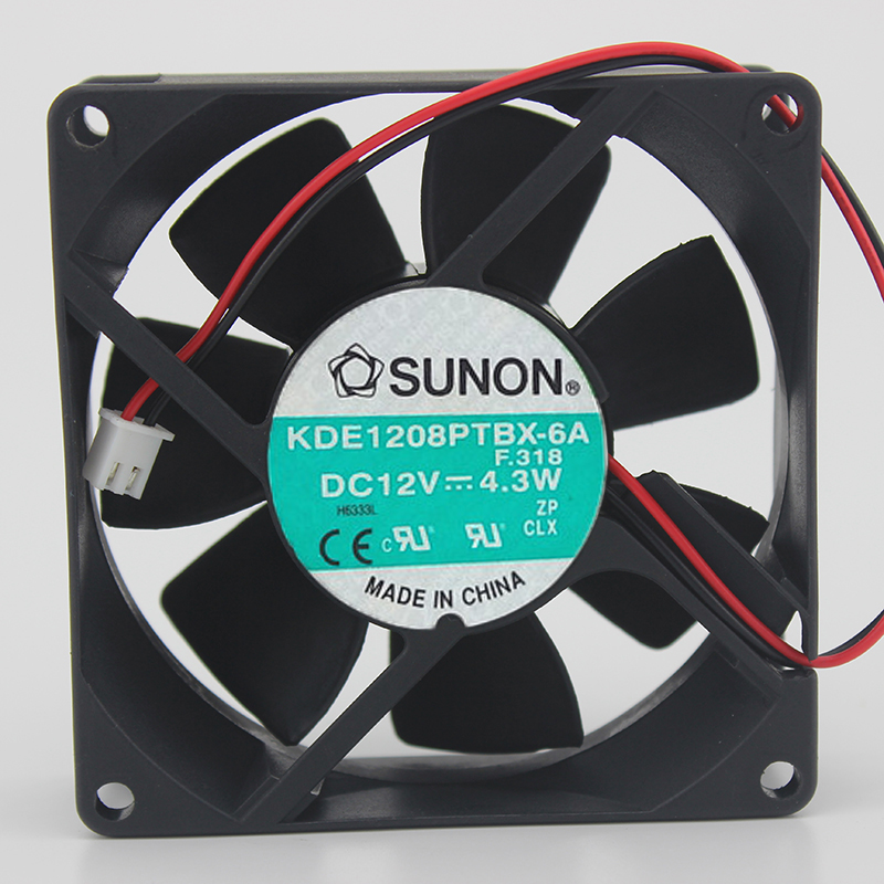 SUNON KDE1208PTBX-6A F318 DC12V 4.3W 8025 8cm 80MM 80*80*25mm 2Wire 2Pin Cooling Fan