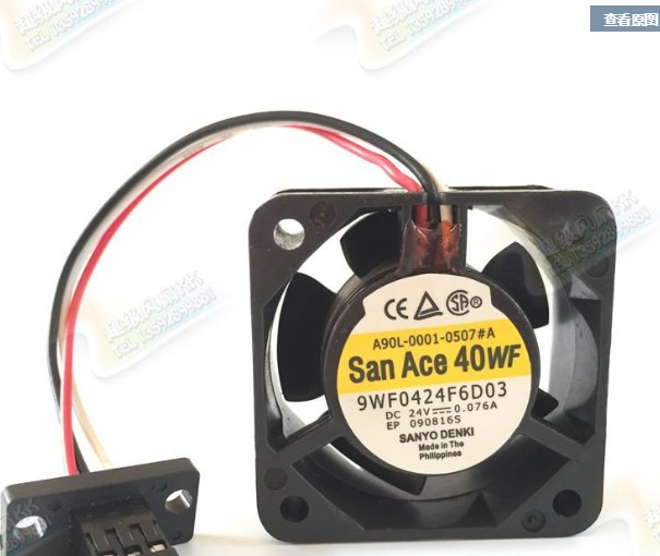 Sanyo 9WF0424F6D03 A90L-0001-0507#A DC24V 0.076A 4020 4CM 40MM 40*40*20mm 3Wire Cooling Fan