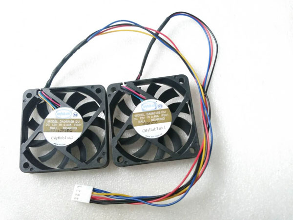 Set of 2pcs Shuttle XH170V Slim PC Workstation SA61O2U SA6102U DA06010B12U 60*60*10MM 60x60x10mm 60mm 6CM 4Pin Cooling Fan
